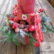 Karácsonyi asztaldísz piros gyertyával