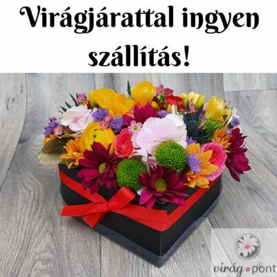 Szíves virágdoboz